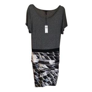 BCBG XXS Grey and Black/Comb Casual Dress